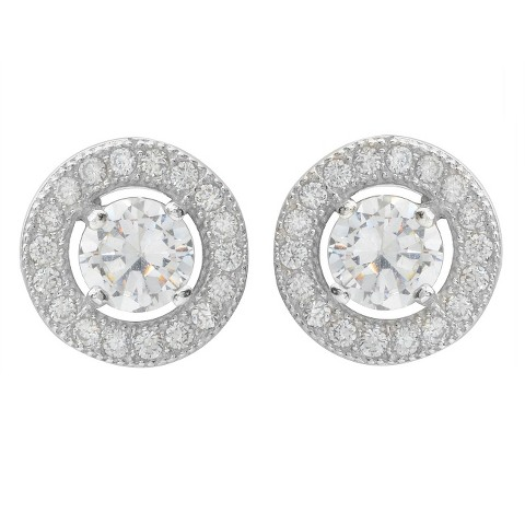 1 CT. T.W. Round Cut Cubic Zirconia Pave Set Stud Earrings in Sterling Silver - Silver