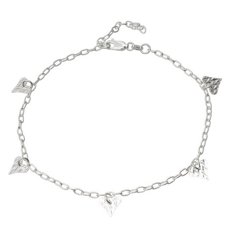 Tressa Collection Sterling Silver Cable Chain Dangling Heart Pendants Anklet - Silver