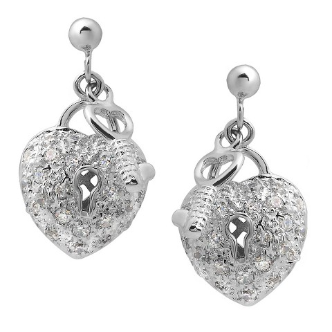 1 7/8 CT. T.W. Round Cut Cubic Zirconia Pave Set Heart Stud Earrings in Sterling Silver - Silver