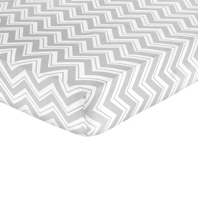 Sweet JoJo Designs Fitted Crib Sheet Pink Grey White Zig Zag