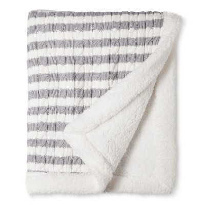 Cable Knit Baby Blanket - Gray Stripe -  Circo™