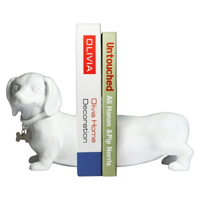 Danya B Cement Dogs Bookend Set - White