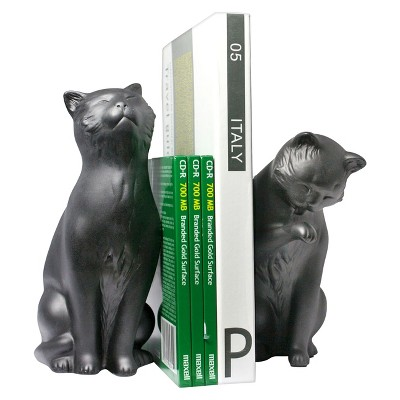 Danya B Cement Cats Bookend Set - Black