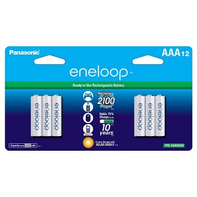 Panasonic eneloop AAA 2100 cycle, Ni-MH Pre-Charged Rechargeable Batteries - 12 Pack