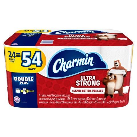 Charmin Ultra Strong Bathroom Tissue 24 Double Plus Rolls x 4オーダー