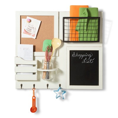 Wood and Metal Combination Board with Hooks - White