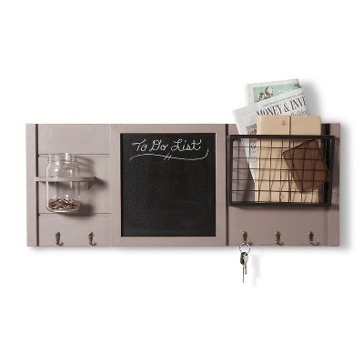 Wood and Metal Combination Board with Hooks - Gray