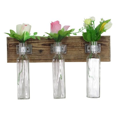 Wood And Metal Glass Bottle Flower Holder
