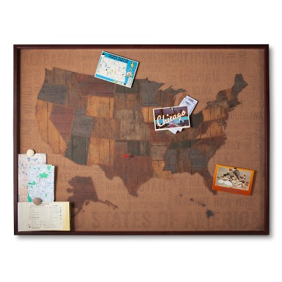 Cork Board US Map 30x40 (Includes 15 Multicolor Flag Pins)