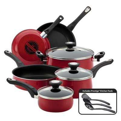 Farberware New Traditions 12 Piece Cookware Set - Red Speckled