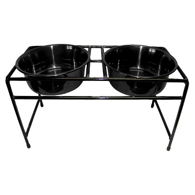 Double Pet Bowl Platinum Pets Black Stainless Steel
