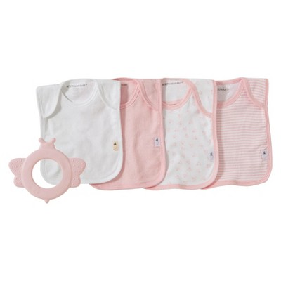 Burt's Bees Baby Natural Rubber Teether & Set of 4 Bibs - Blossom