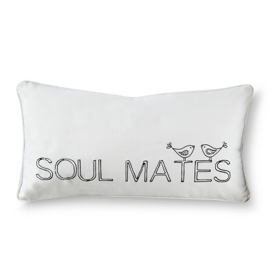 Soul Mates Decorative Throw Pillow - White