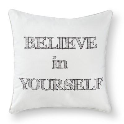 Believe Decorative Throw Pillow - White