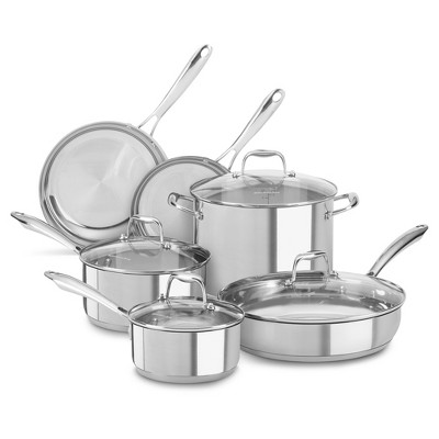 KitchenAid® 10 Piece Stainless Steel Cookware Set - KCSS10LS