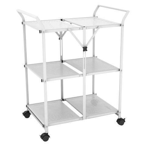 Folding kitchen cart metal dar target for Collapsible kitchen cart