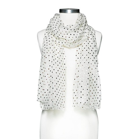 Women's Metallic Polka Dot  Scarf - White