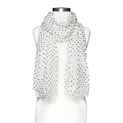 Women's Metallic Polka Dot  Scarf - White