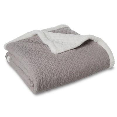 "Linen Sherpa Throw - Grey (50""X60"")"