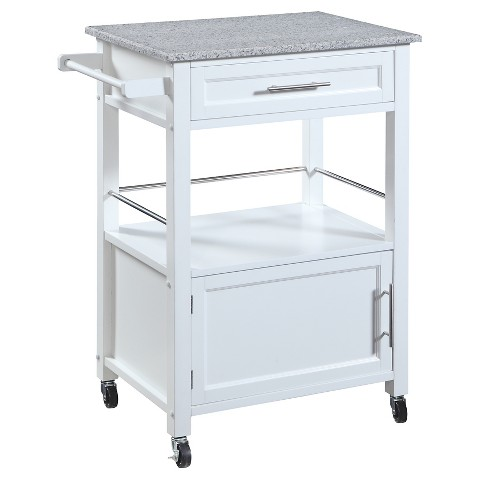 Mitchell Granite Top Kitchen Cart Wood White Linon Product Details