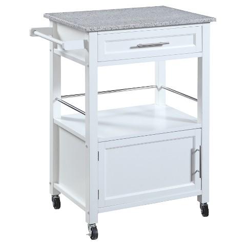 Mitchell granite top kitchen cart wood white l target - Kitchen carts target ...
