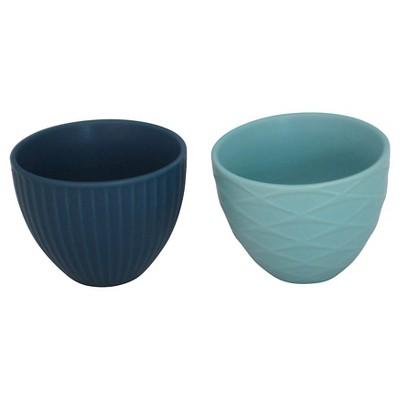 Stoneware M mini bowls Green, Aqua Asst