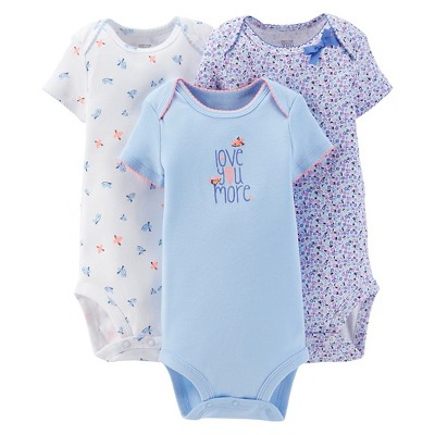 Just One You™Made by Carter's® Newborn Girls' 3 Pack Floral/Birds Bodysuits NB