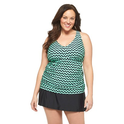 Women's Plus Size Tankini Swim Top Mint Chevron 20W-Ava & Viv