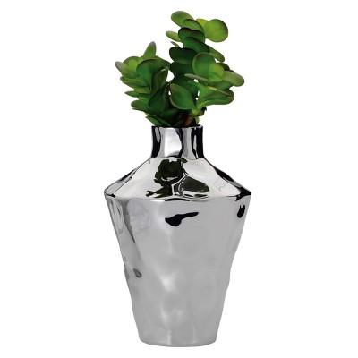 "Torre & Tagus Penta Ceramic Vase - Silver (10"")"