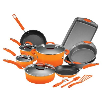 Rachael Ray 16 Piece Porcelain Cookset - Orange