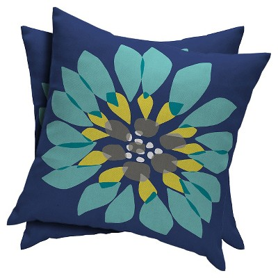 2-Piece Outdoor Toss Pillow Set - Geo Flower - Room Essentials™