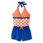 Girls' 1-Piece Polka Dot Halter Swimsuit and Board Short Set