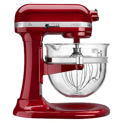 KitchenAid® Professional Pro 600 Design 6 Qt Stand Mixer with Glass Bowl- Red KF26M22