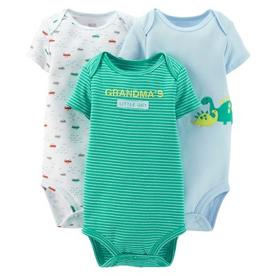 Just One You™Made by Carter's® Newborn Boys' 3 Pack Dinosaur/Car Bodysuit Set 18 M