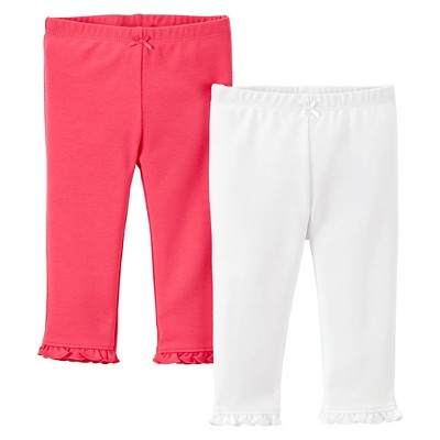 Just One You™Made by Carter's® Newborn Girls' 2 Pack Pant - Pink/White 12 M