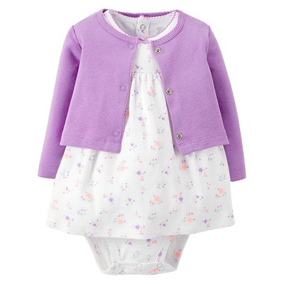 Just One You™Made by Carter's® Newborn Girls' 2 Piece Dress Set - Purple/White 3 M