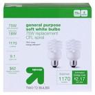 up & up™ Light Bulb CFL General Purpose Soft White 2PK 75 Watt