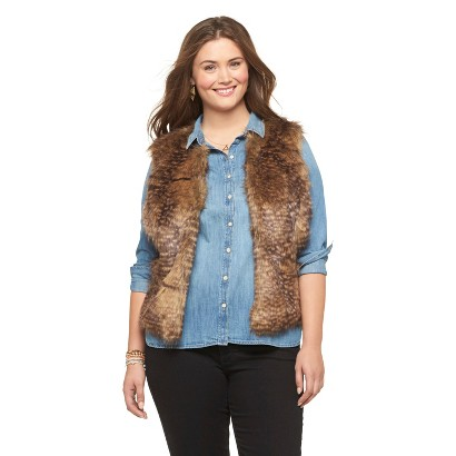 Plus Size Faux Fur Brown Vest-Mossimo Supply Co. X