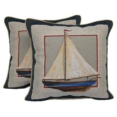 "2 Pack Coastal Sailboat Toss Pillow 16""x4"" - Multi-Colored"