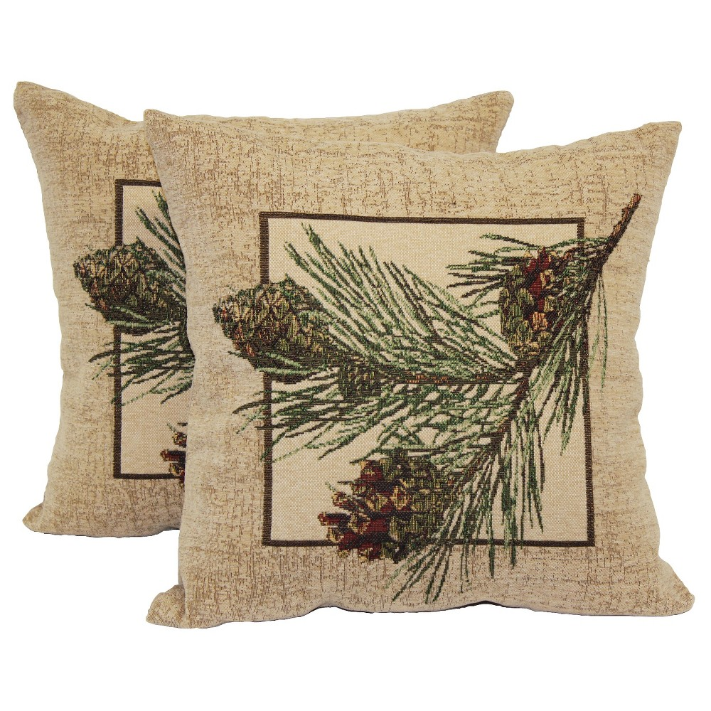 2 pack pine cone decorative pillow 14 x14 multi colored. Black Bedroom Furniture Sets. Home Design Ideas