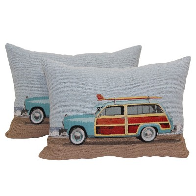 """2 Pack Coastal Woodie with Surfboard Toss Pillow 11""""x4"""" - Multi-Colored"""
