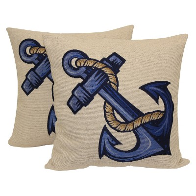 "2 Pack Coastal Anchor Branch Toss Pillow 16""x4"" - Multi-Colored"