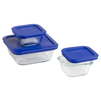 Pyrex 6pc Square Storage Plus Value Pack- Cadet Blue