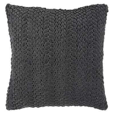 "Luxe Velvet Cableknit Toss Pillow - Gray - 18""x18"""