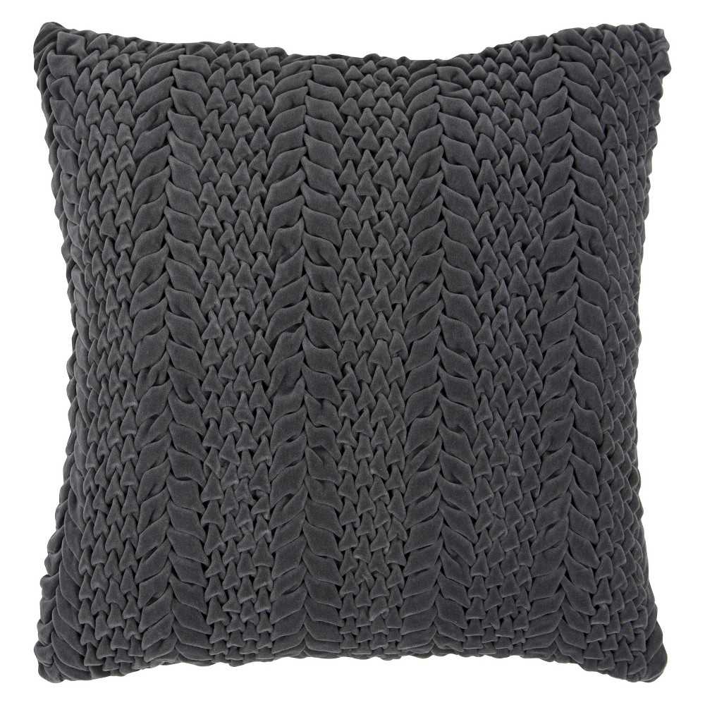 LuxeVelvetCableknitTossPillowGray18x18Grey