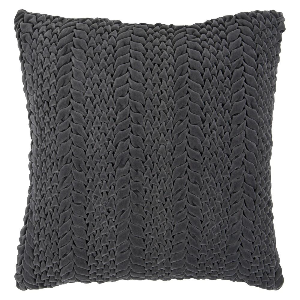 Luxe Velvet Cableknit Toss Pillow Gray 18 Quot X18 Quot Grey