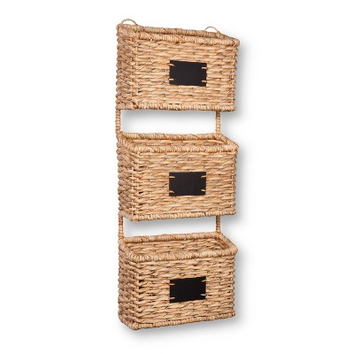 Woven Wall Organizer Decorative Basket Set of 3 with Chalkboard Labels - Smith & Hawken™