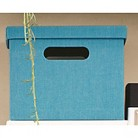 "11"" Teal solid ext & int  Lidded Milk Crate"