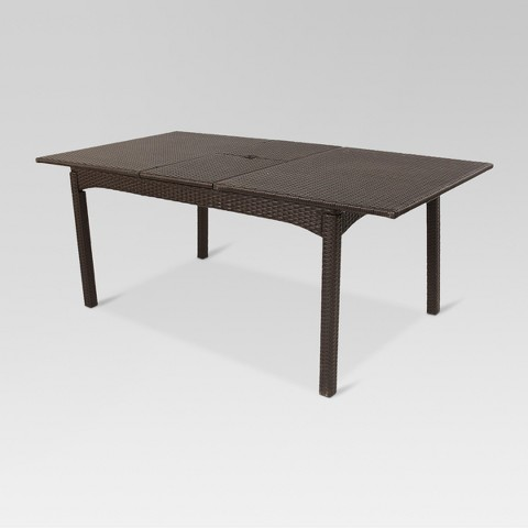 weather wicker 76 extendable patio dining table product details page
