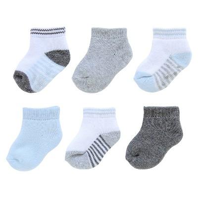 J.O.Y Casual Socks 6 Pk GRY BLU WHT 0-3M